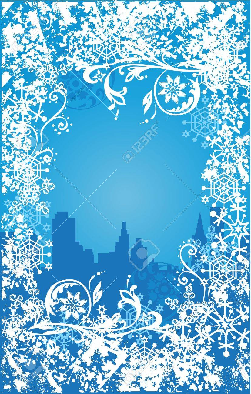Winter background. Ornate leaves, flowers and snowflakes Stock Vector - 10818271