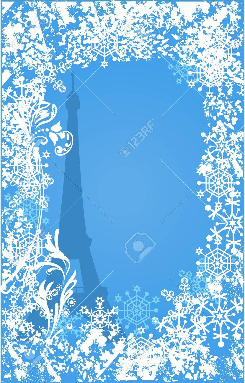 Winter France background. Ornate leaves, flowers and snowflakes Stock Vector - 10818272