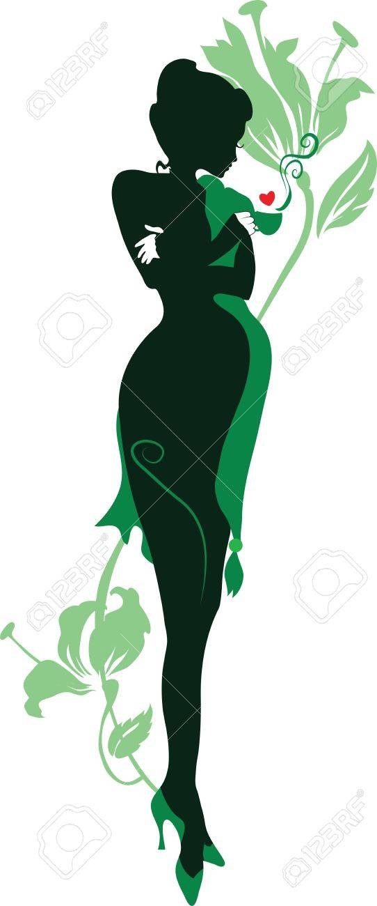 Silhouette of floral pregnant woman with cup of tea Stock Vector - 11914805
