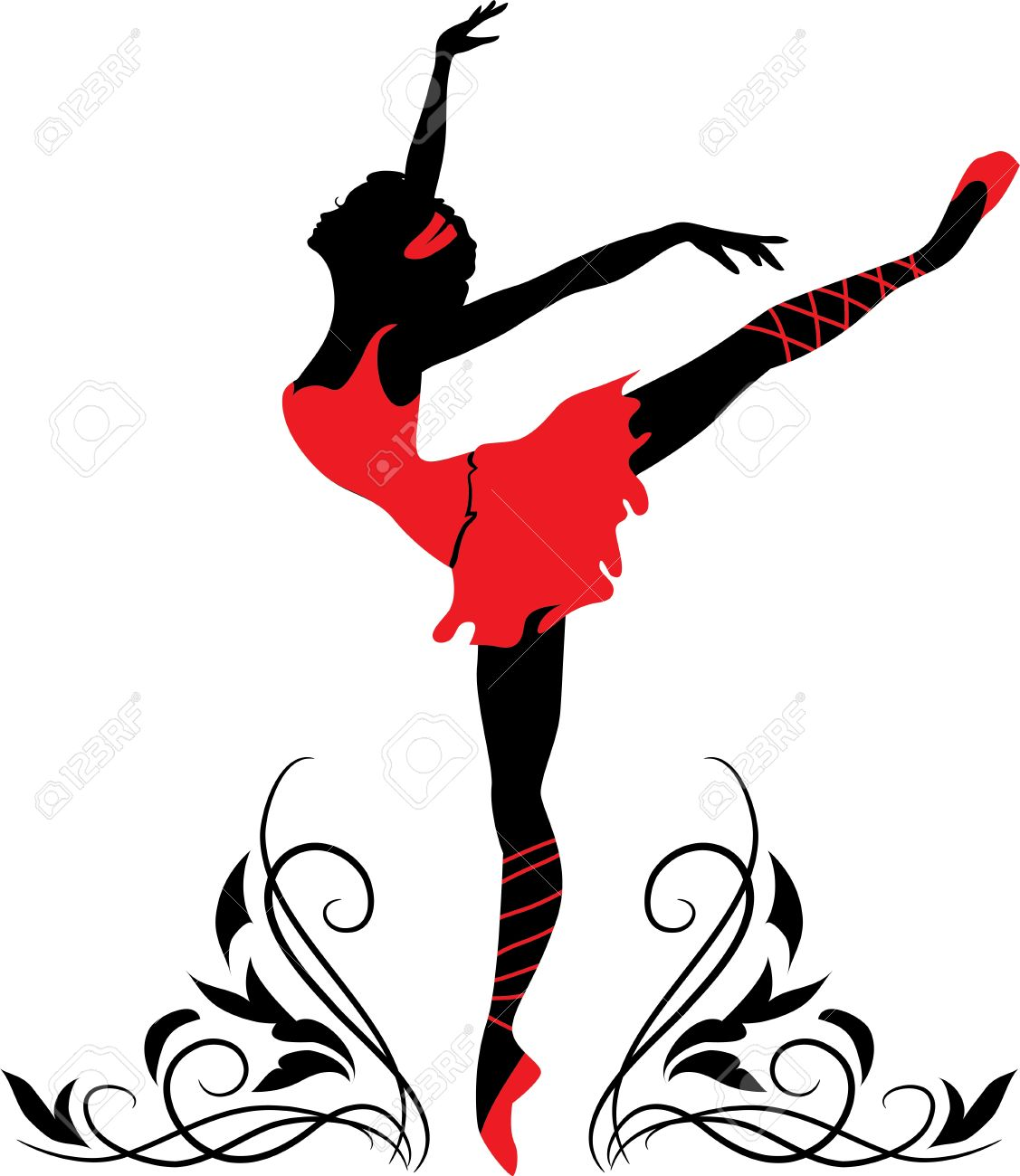 Doodle graphic silhouette of a woman   Ballerina with floral ornament Stock Vector - 13651218