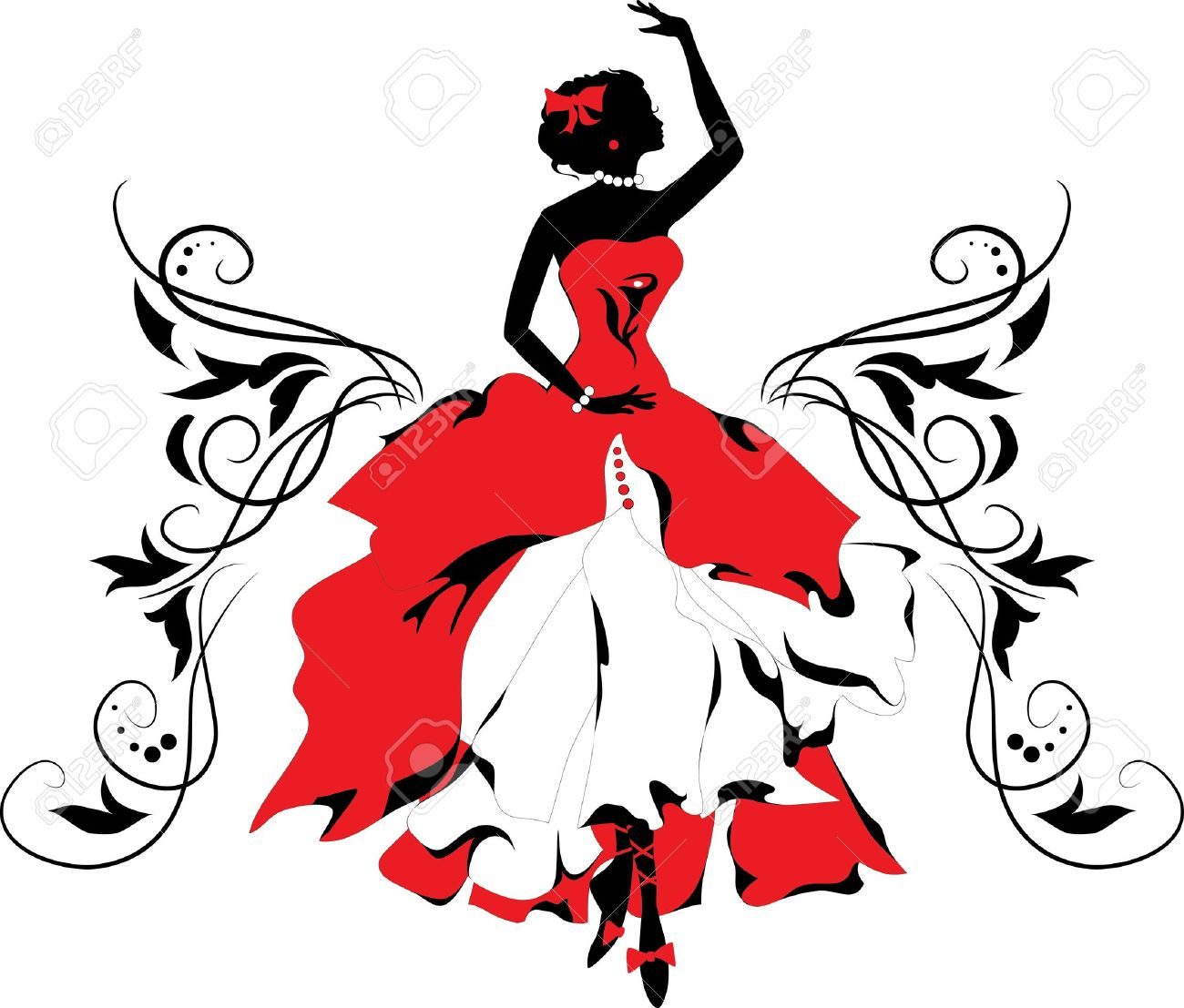 Graphic silhouette of a woman Ballerina with floral ornament - 13759000