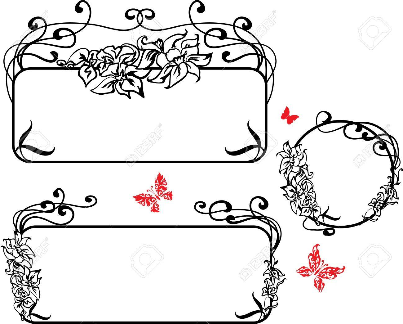 Decorative Art Nouveau style  banner with lilies and butterflies Stock Vector - 13852209