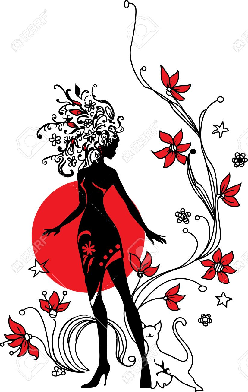 Graphic silhouette of a woman on floral background with cat Stock Vector - 14410137