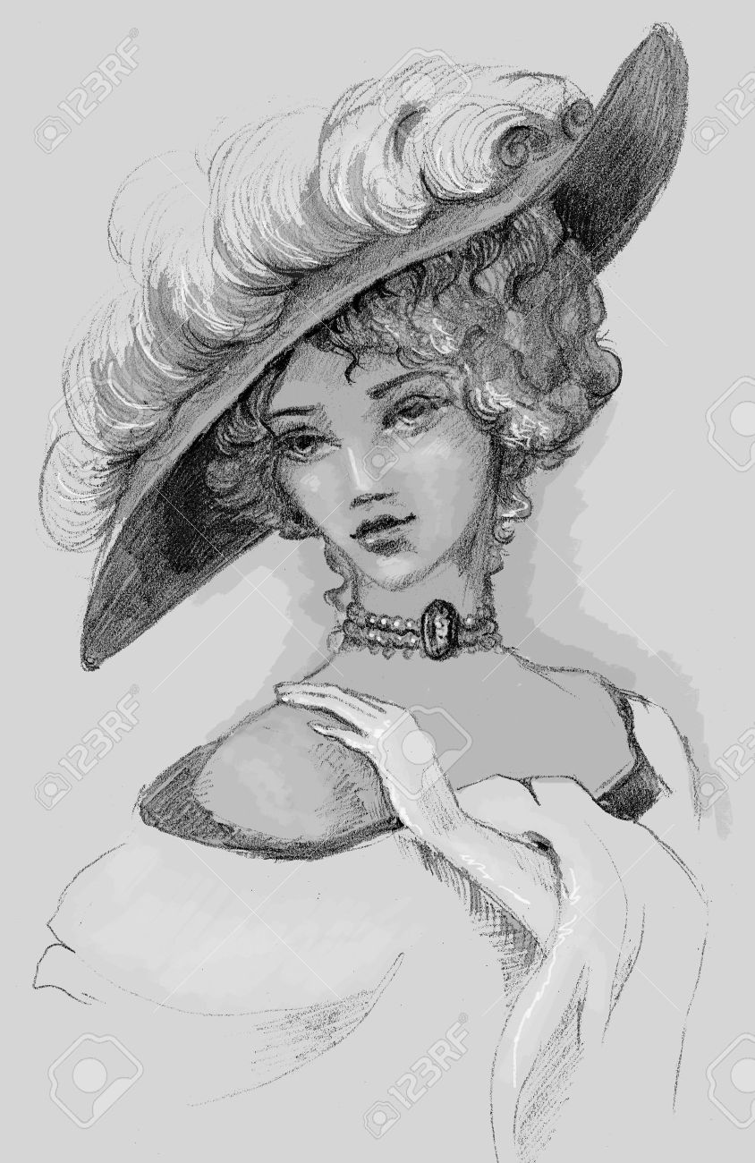 Sketch Of Woman Retro Hand Drawing Stock Photo Picture And Royalty