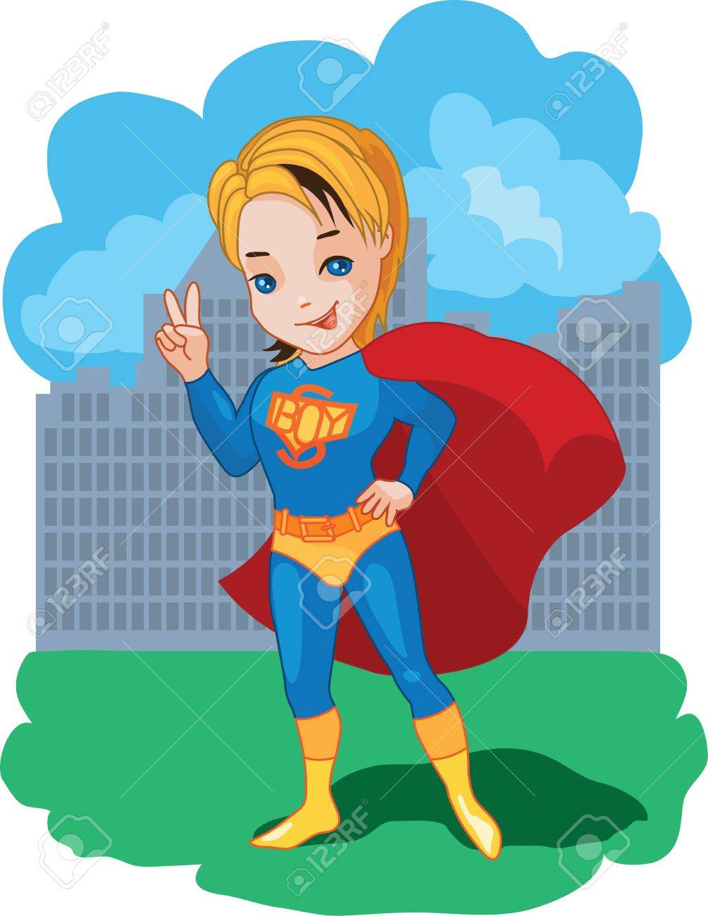 Super Boy with victory symbol illustration Stock Vector - 17459203