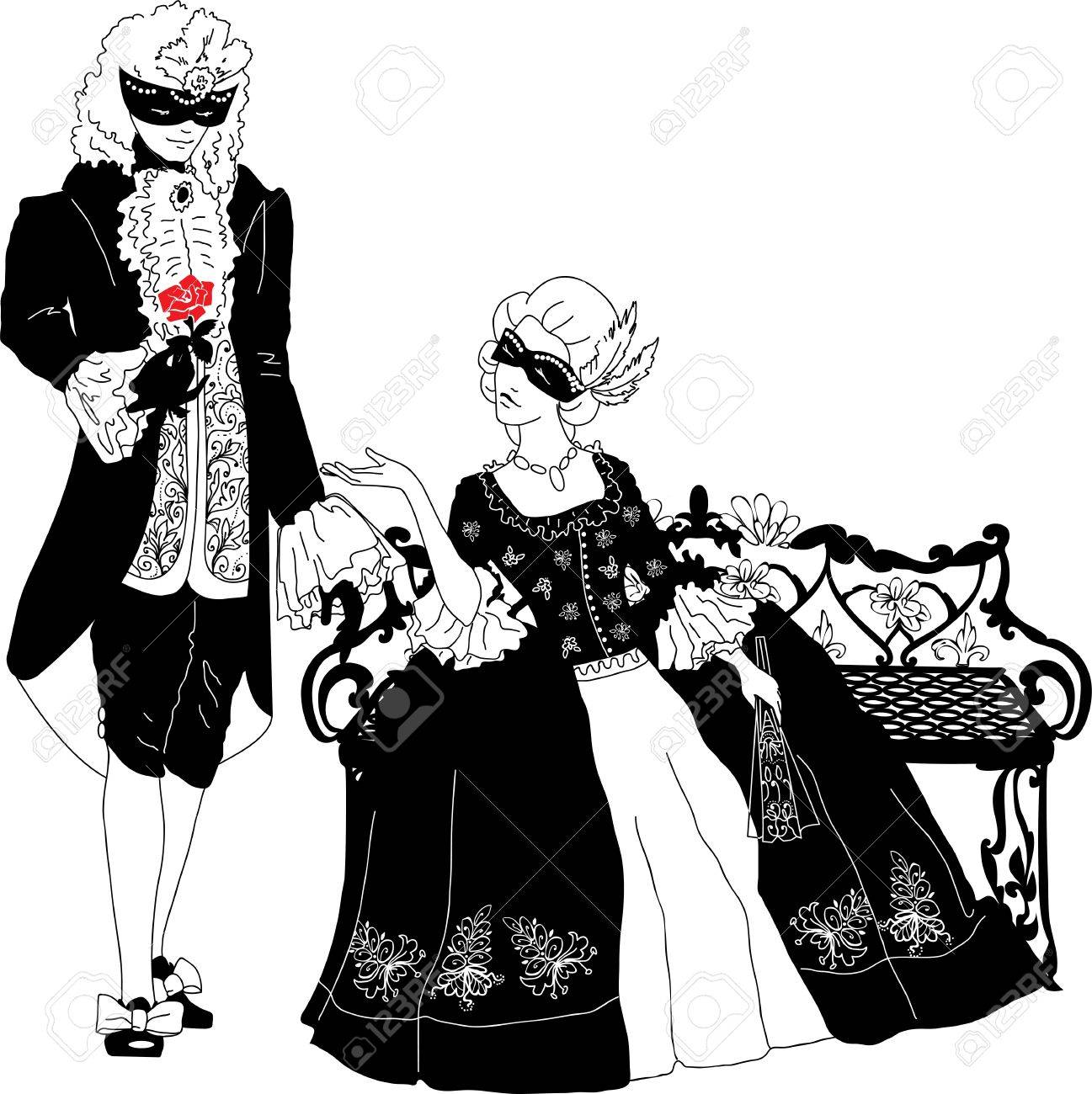 Man and woman silhouettes at the carnival Stock Vector - 17511225