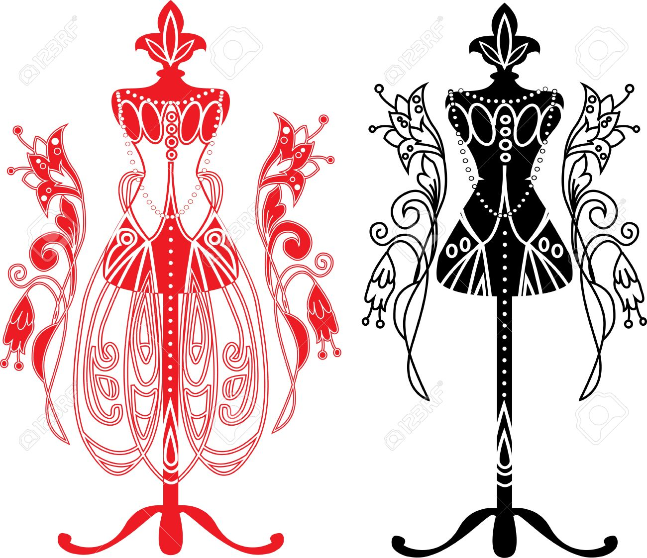 Maniquí De Sastre Con Vestido Vestido De Boda Ilustraciones ...