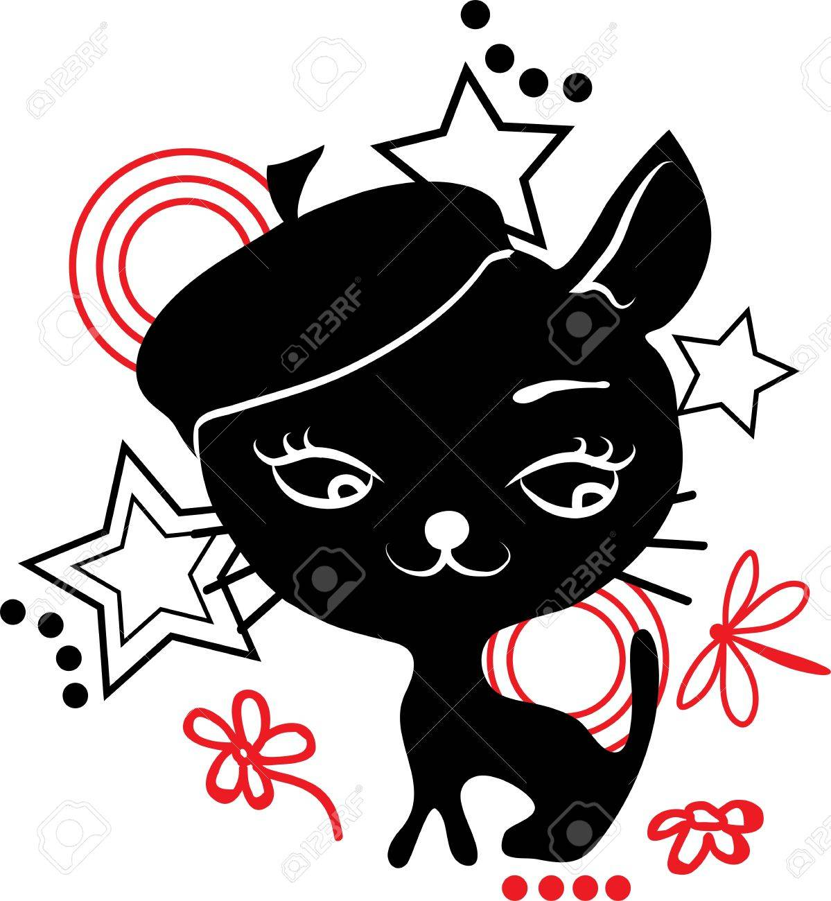 Cat silhouette in hat Black and red Stock Vector - 17933500