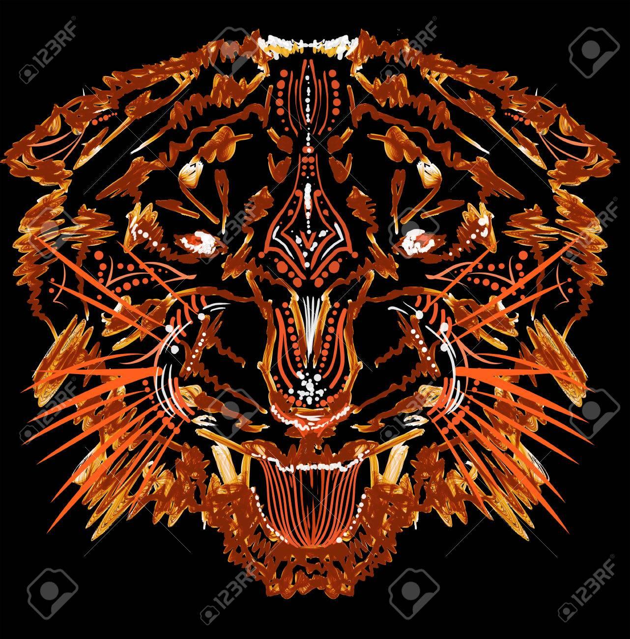 Shirt design on photoshop - Grinning Flame Tiger Photoshop Illustration For T Shirt Design Stock Illustration 24524221