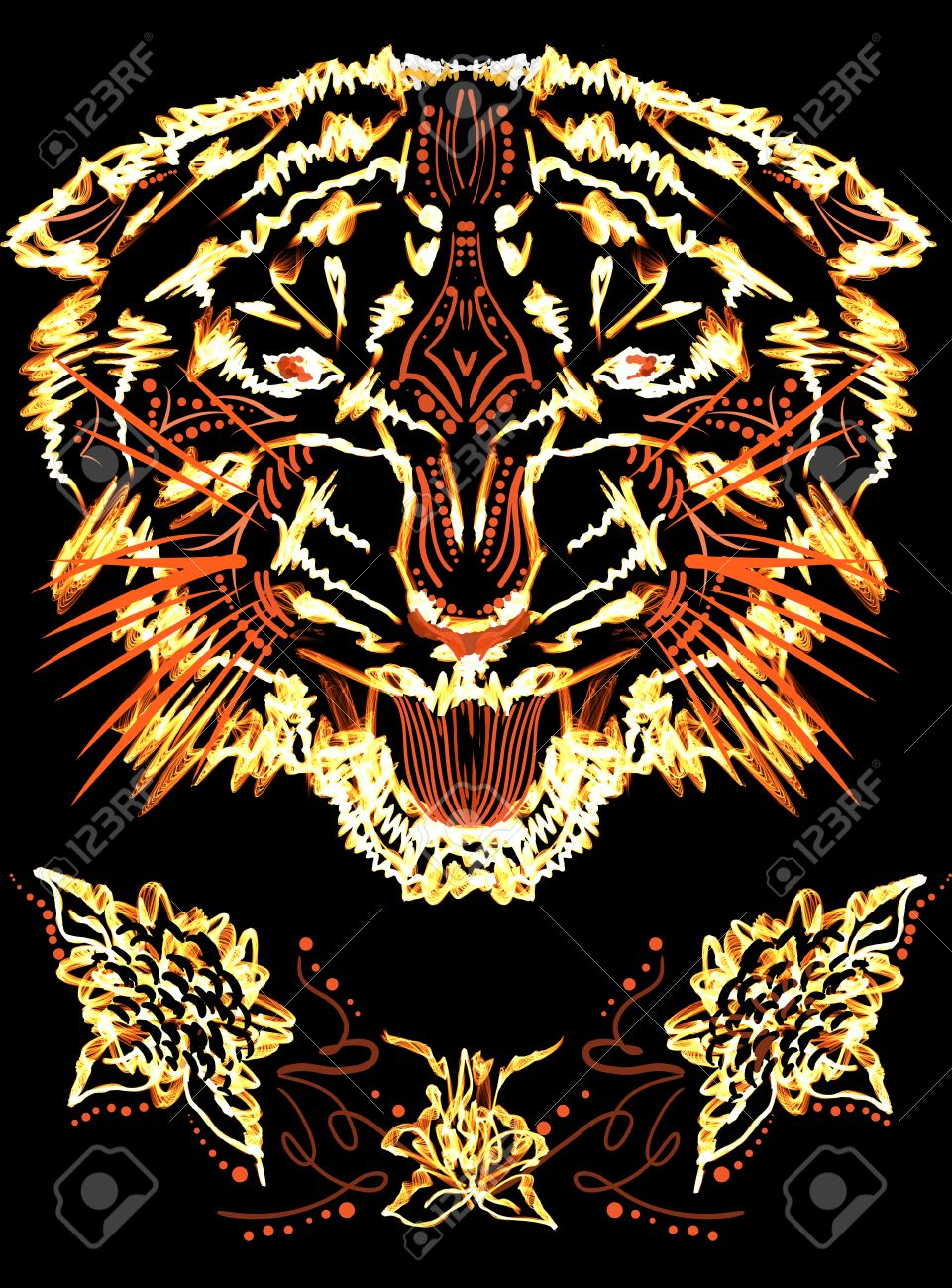 Design t shirt in photoshop - Grinning Flame Tiger Photoshop Illustration For T Shirt Design Stock Illustration 24524227