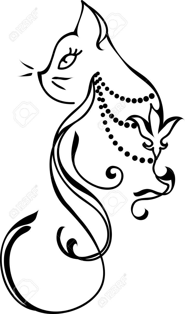 Silueta De Un Gato Diseño Del Estilo Del Tatuaje Ilustraciones