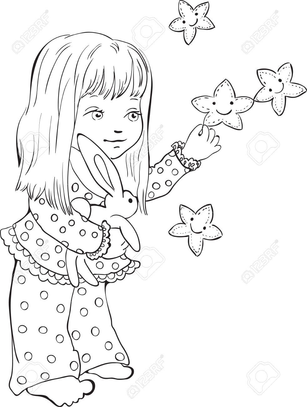 Niña Linda Con Estrellas Divertido. Sello Digital. Vector De Dibujo ...