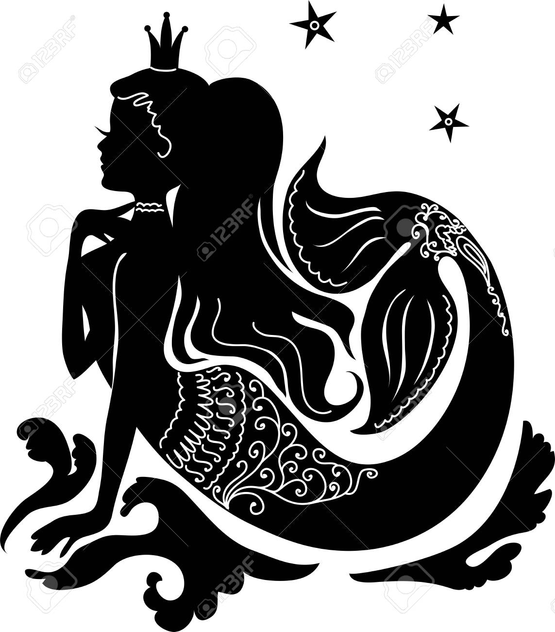 Silhouette mermaid sitting on the waves. Isolated figure of girl from fairy tale - 96181737