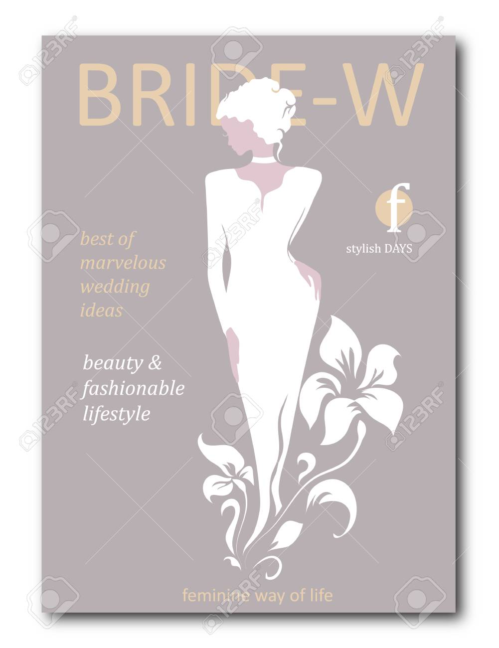 Abstract Bride Woman With Floral With Silhouette Fashion Magazine Royalty Free Cliparts Vectors And Stock Illustration Image 102391681