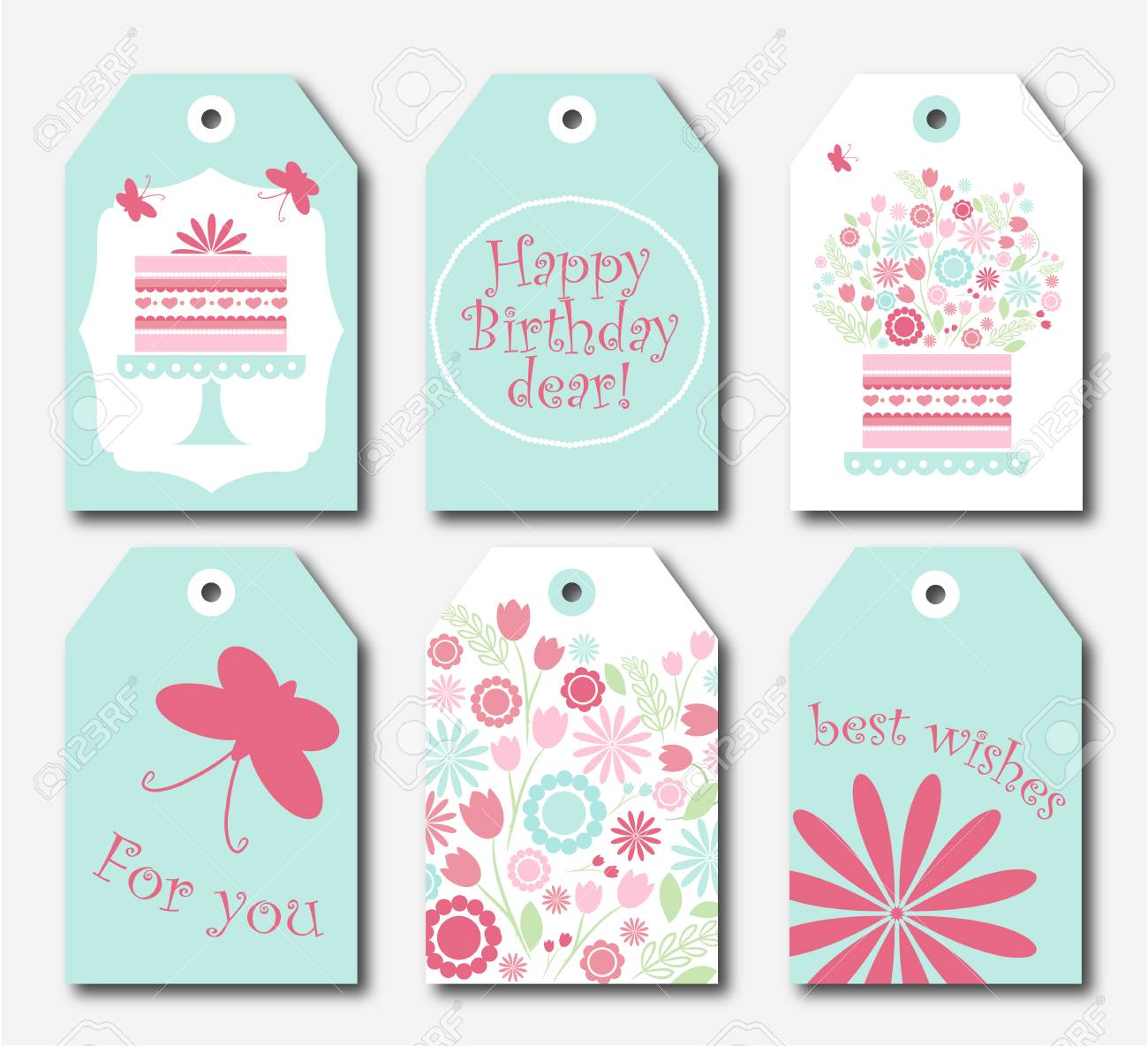 photograph regarding Birthday Tag Printable called Selection of 6 lovely redy-toward-employ the service of reward tags. Established of 6 printable..