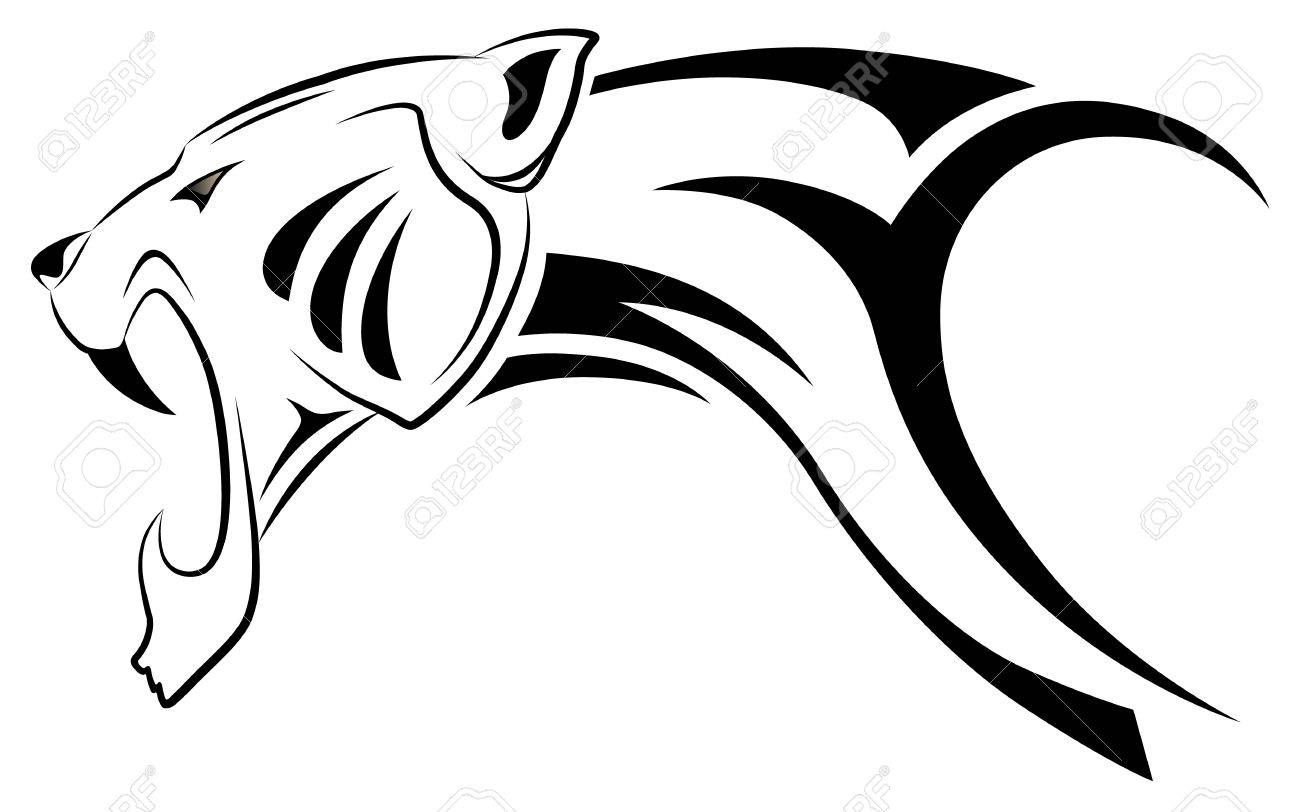 Tribal-Tattoos 10390097-Vector-leopard-tribal-tattoo-Stock-Vector