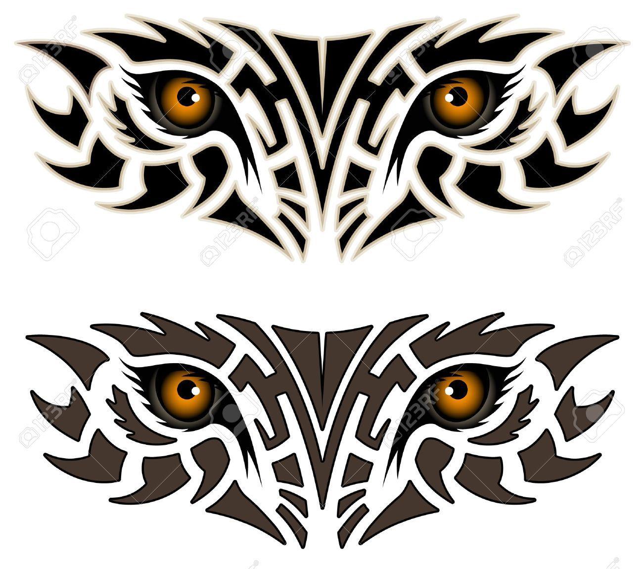 Eyes of an animal, tribal tattoo Stock Vector - 11244402