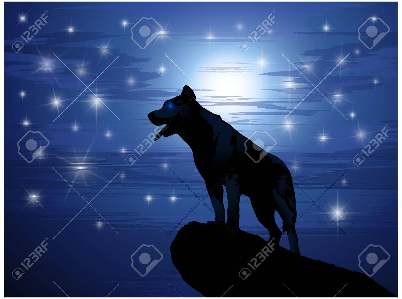 Wolf against the moon and stars Stock Vector - 11244405