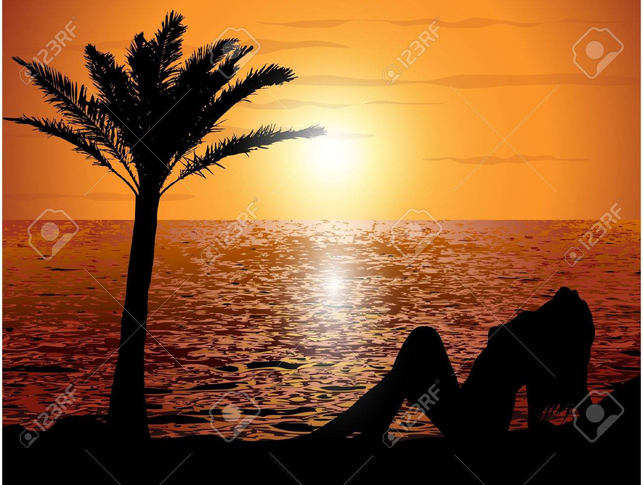 Sunset on the beach with a girl Stock Vector - 13489058