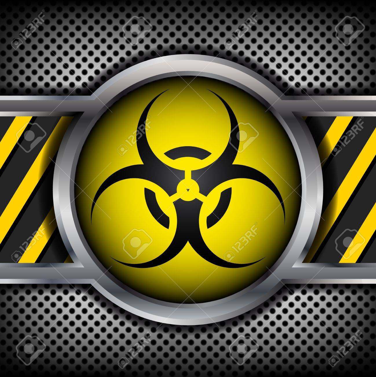 Biohazard sign on a metal background Stock Vector - 15399361