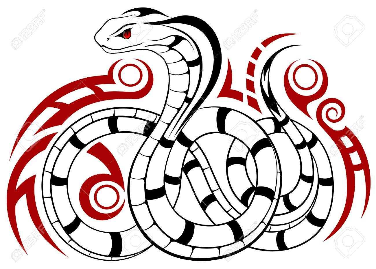 Snake, Cobra in the form of a tattoo Stock Vector - 15655440