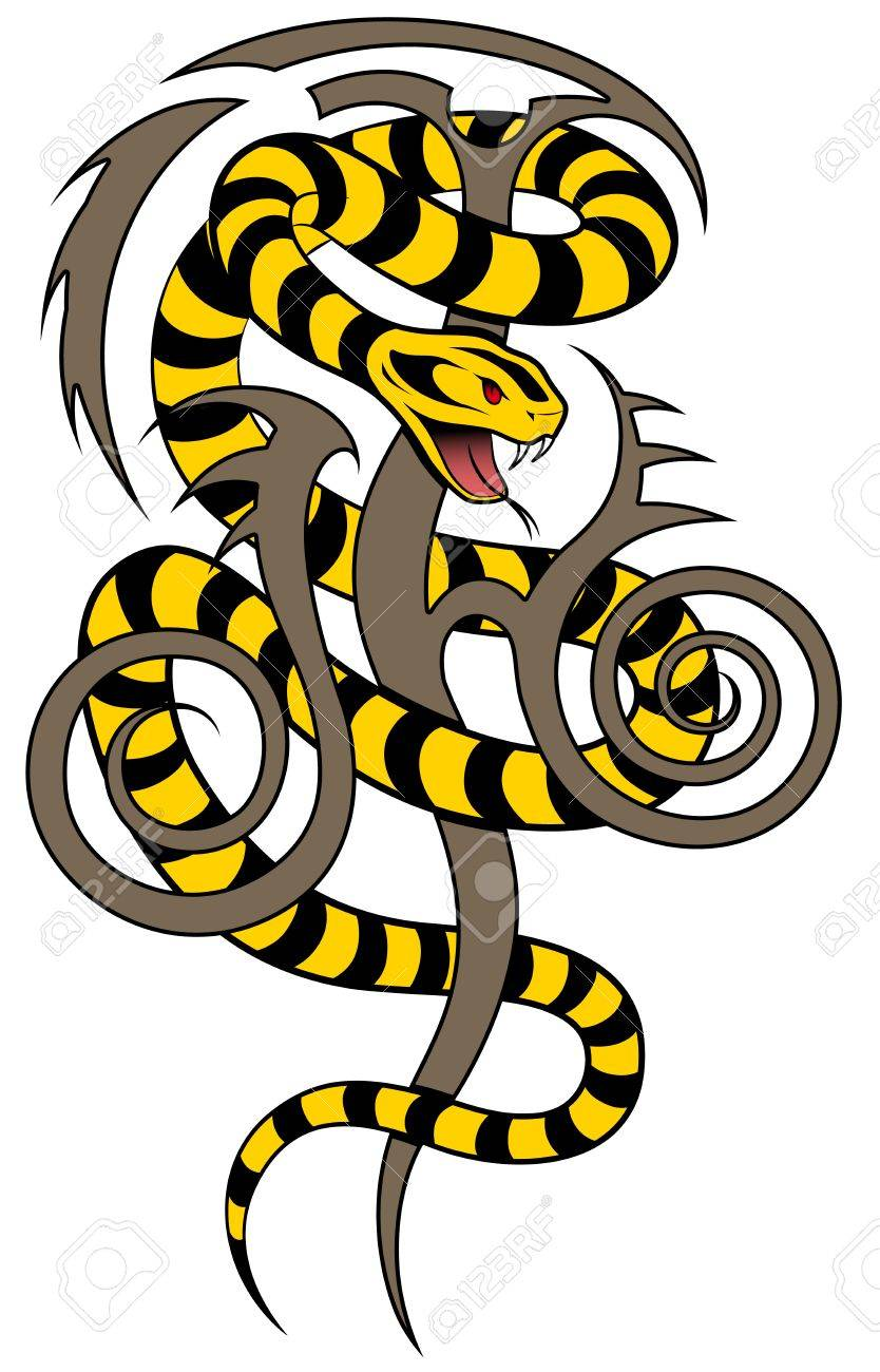 Snake in the form of a tattoo Stock Vector - 16235317