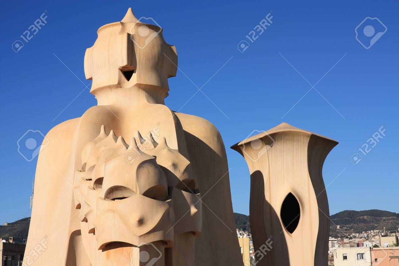 La Pedrera, Barcelona. Gaud�. On the terrace of the Casa Mila (also called La Pedrera) is a cross-shaped chimneys and soldiers of anthropomorphic forms created by Antonio Gaudi. It was created in 1905. Photo background. Stock Photo - 6523971