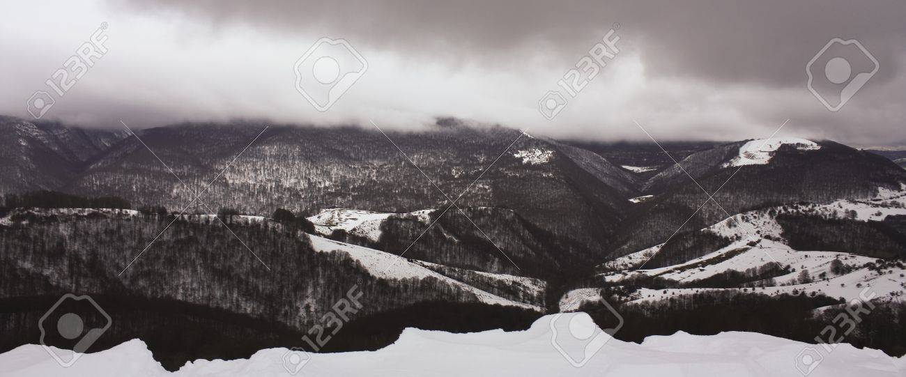 Snow-capped Pyrenees. Irati jungle or forest, Navarra, northern Spain Stock Photo - 8984095