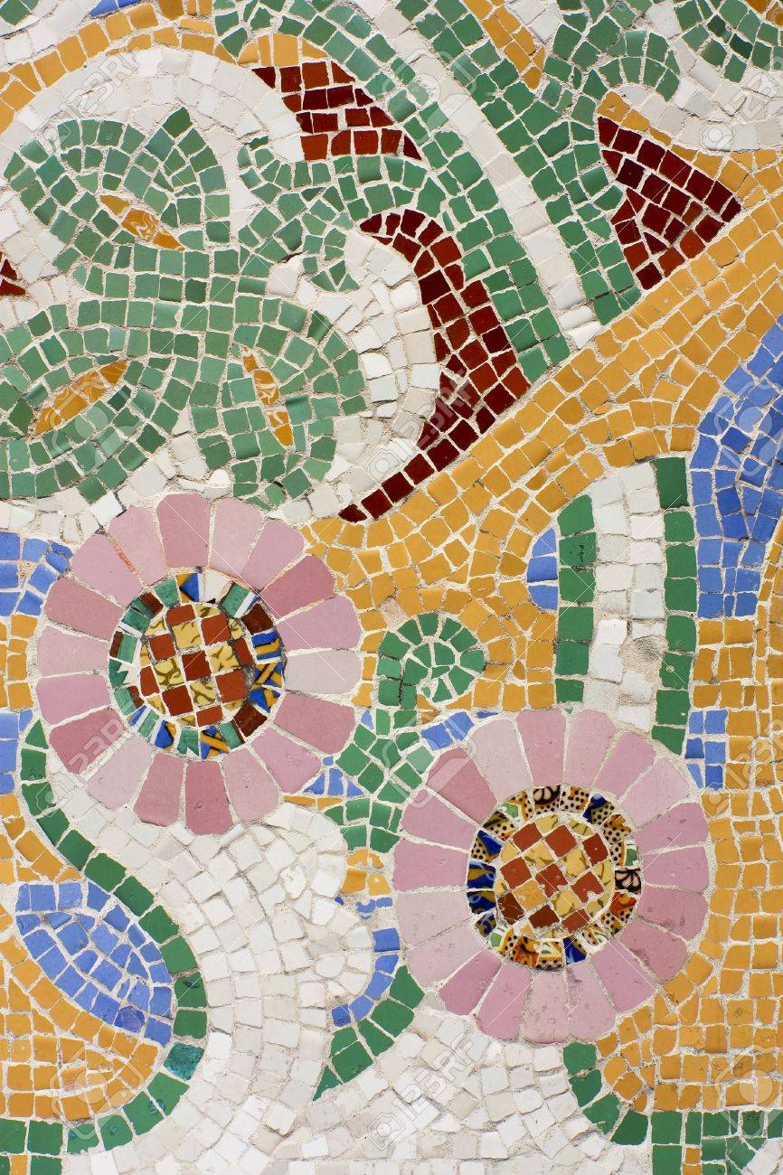 Floral Mosaic. The Palau De La M�sica Catalana (Palace Of Catalan Music)  Is A Concert Hall Designed In The Catalan Modernista Style By The Architect  ...