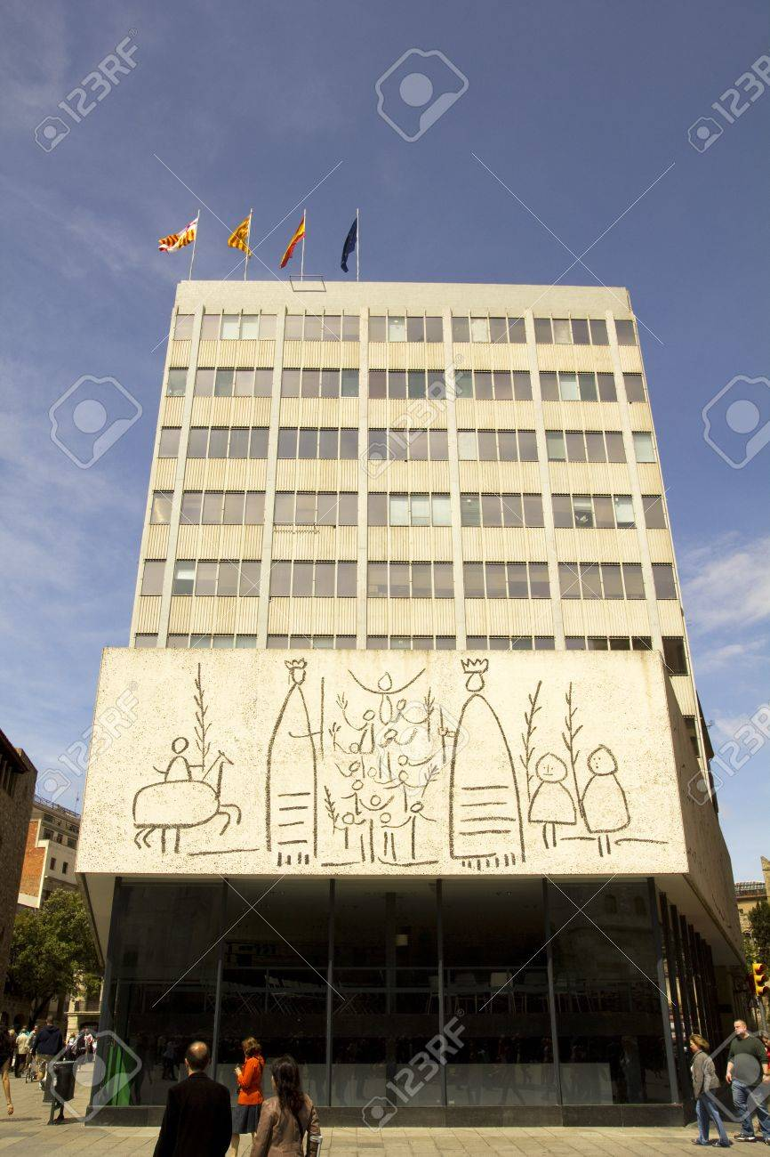 Pablo Picasso frize, in Barcelona.  Opposite the Cathedral of Barcelona, the building of the College of Architects of Catalonia exhibits three friezes of Pablo Picasso. Stock Photo - 10719782