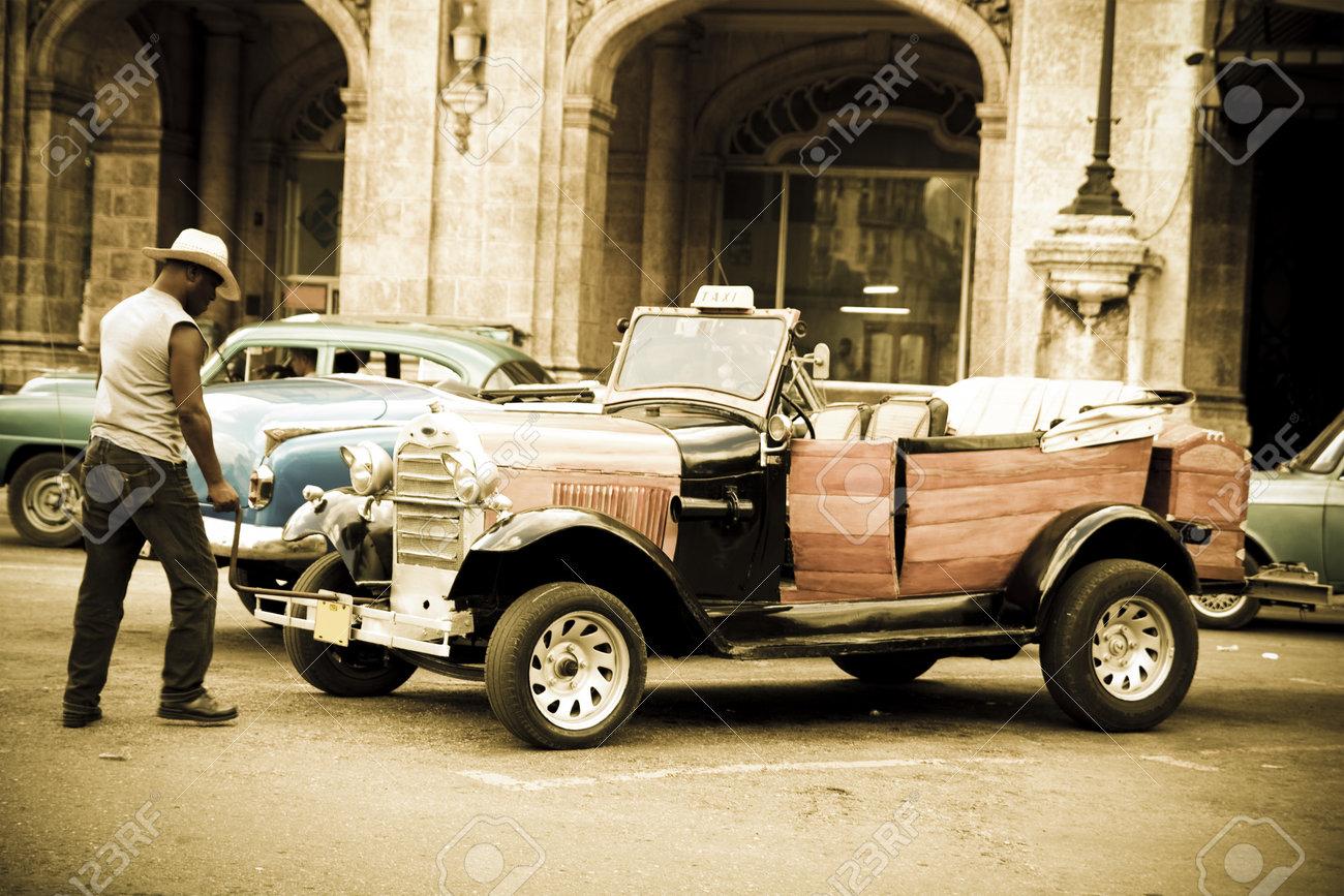 Havana, Cuba - September 9, 2011: A Driver Turns On An Old Car ...