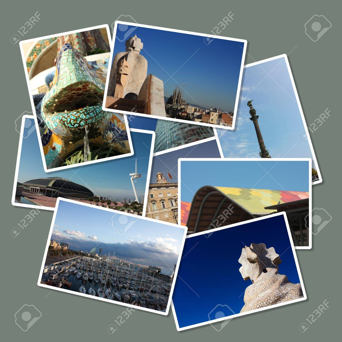 Cards with different images of the city of Barcelona: Colon, Gaud�, Port, Europe Olympic square ... Spain Stock Photo - 13365527