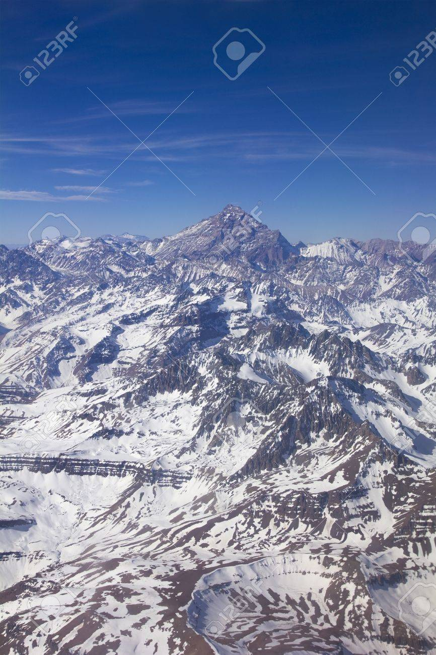 Mount Aconcagua in Mendoza, Andes Mountain Range, border between Argentina and Chile Argentina  highest pick in America continent Stock Photo - 16080859