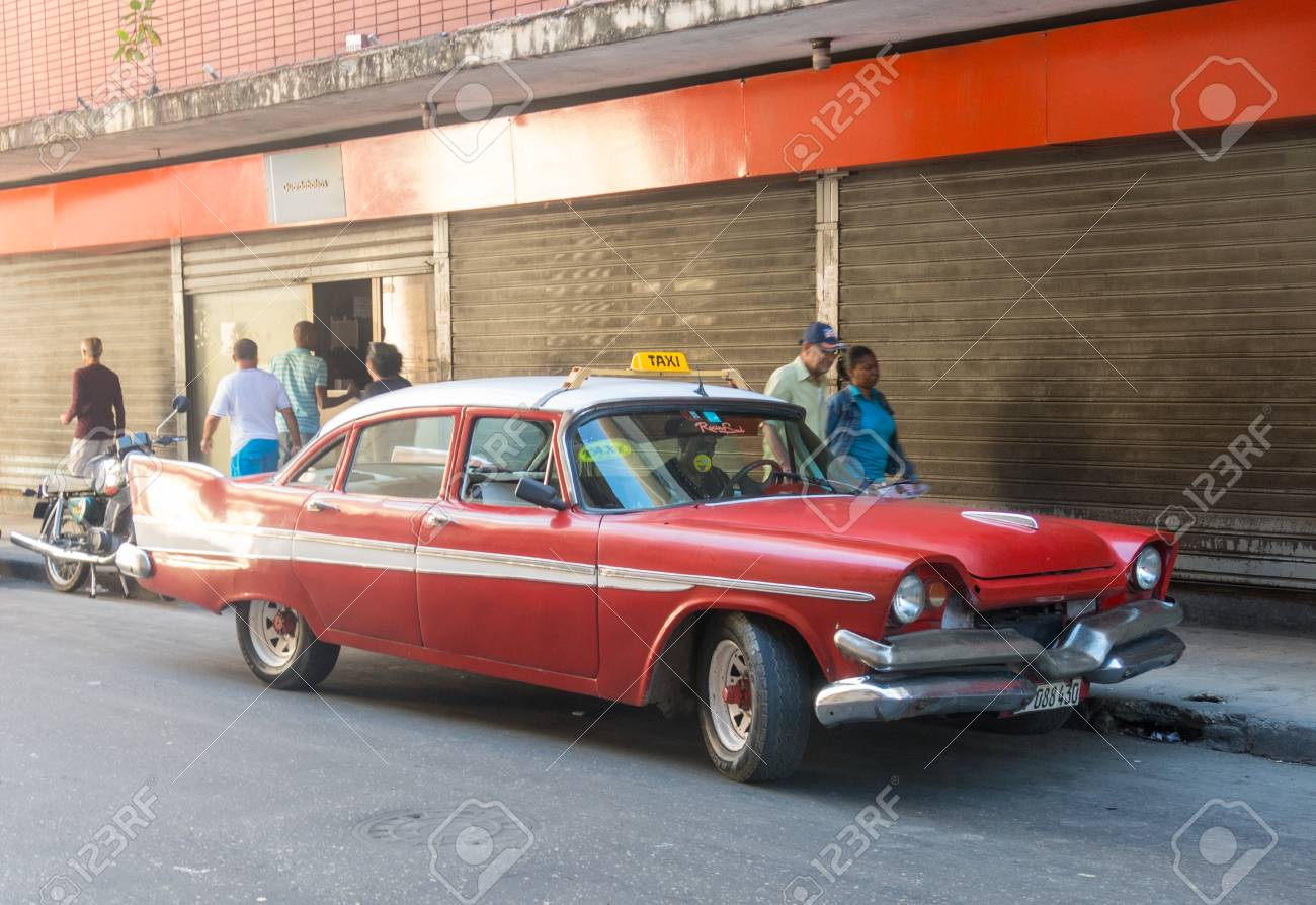 HAVANA, CUBA - JANUARY 16, 2017: Old Car Of The Fifties Circulating ...