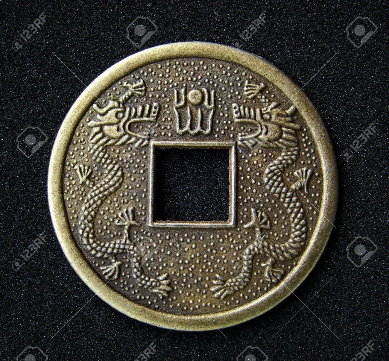 Close Up Der Chinesischen Feng Shui Münze Für Glück Und Erfolg