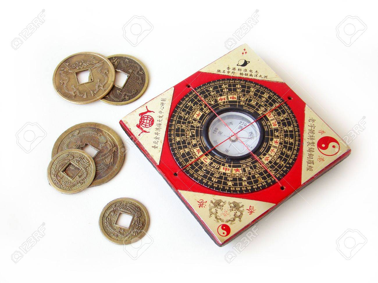 feng shui compass luopan and chinese coins on white background stock photo 4292706 chinese feng shui compass