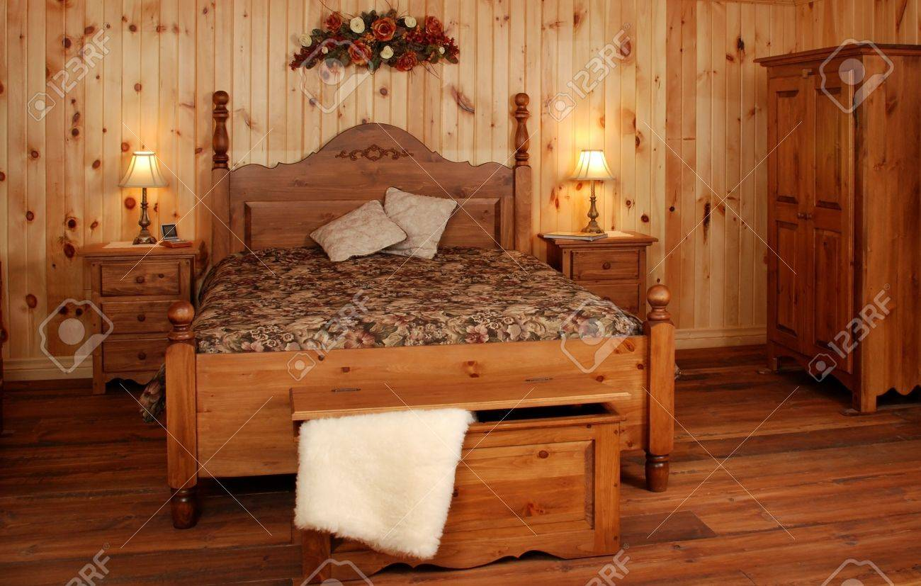 Old Empty Bedroom Set In Natural Pine Wood Stock Photo Picture And Royalty Free Image Image 3034212