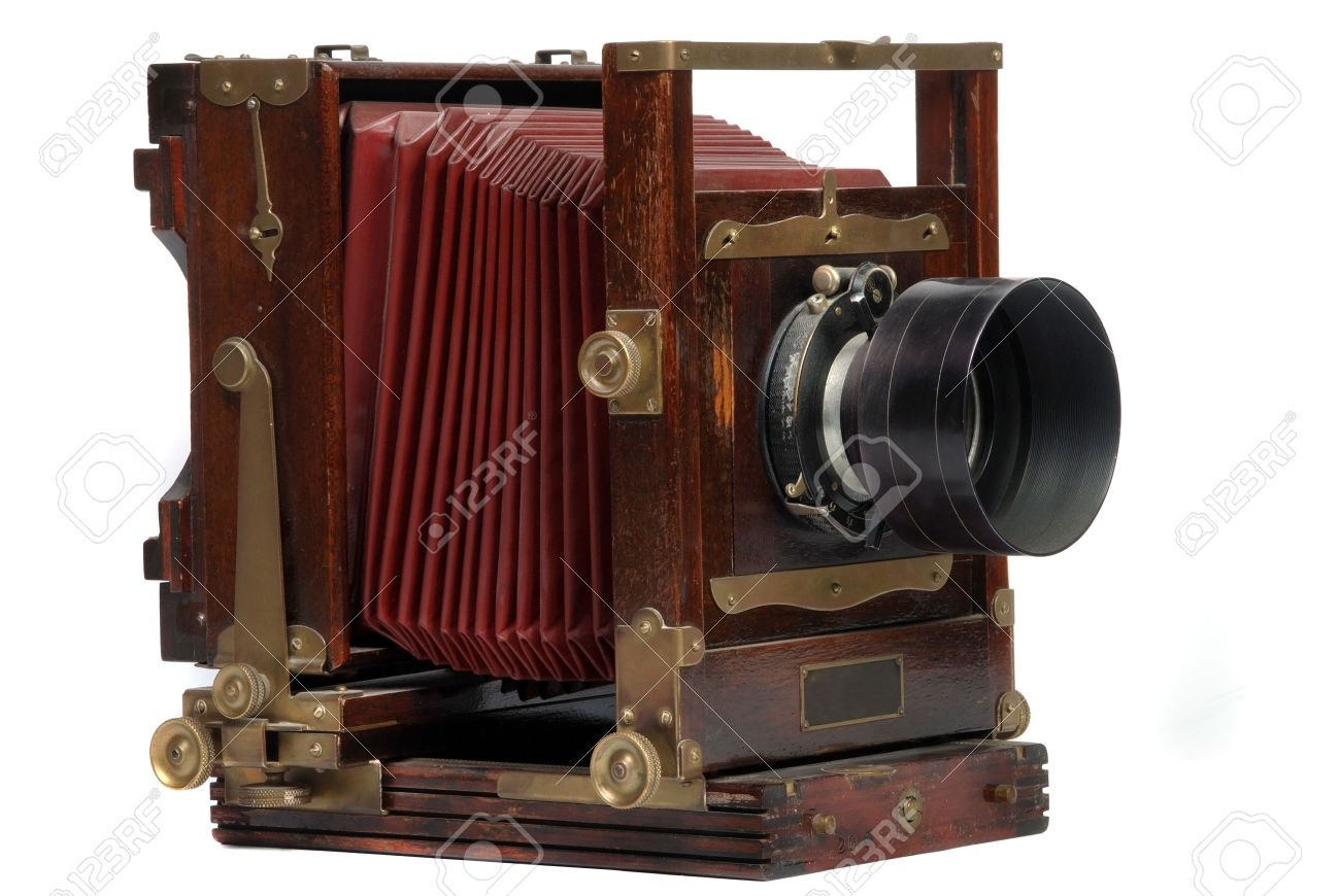 old wood frame photo camera with lens Stock Photo - 4161202