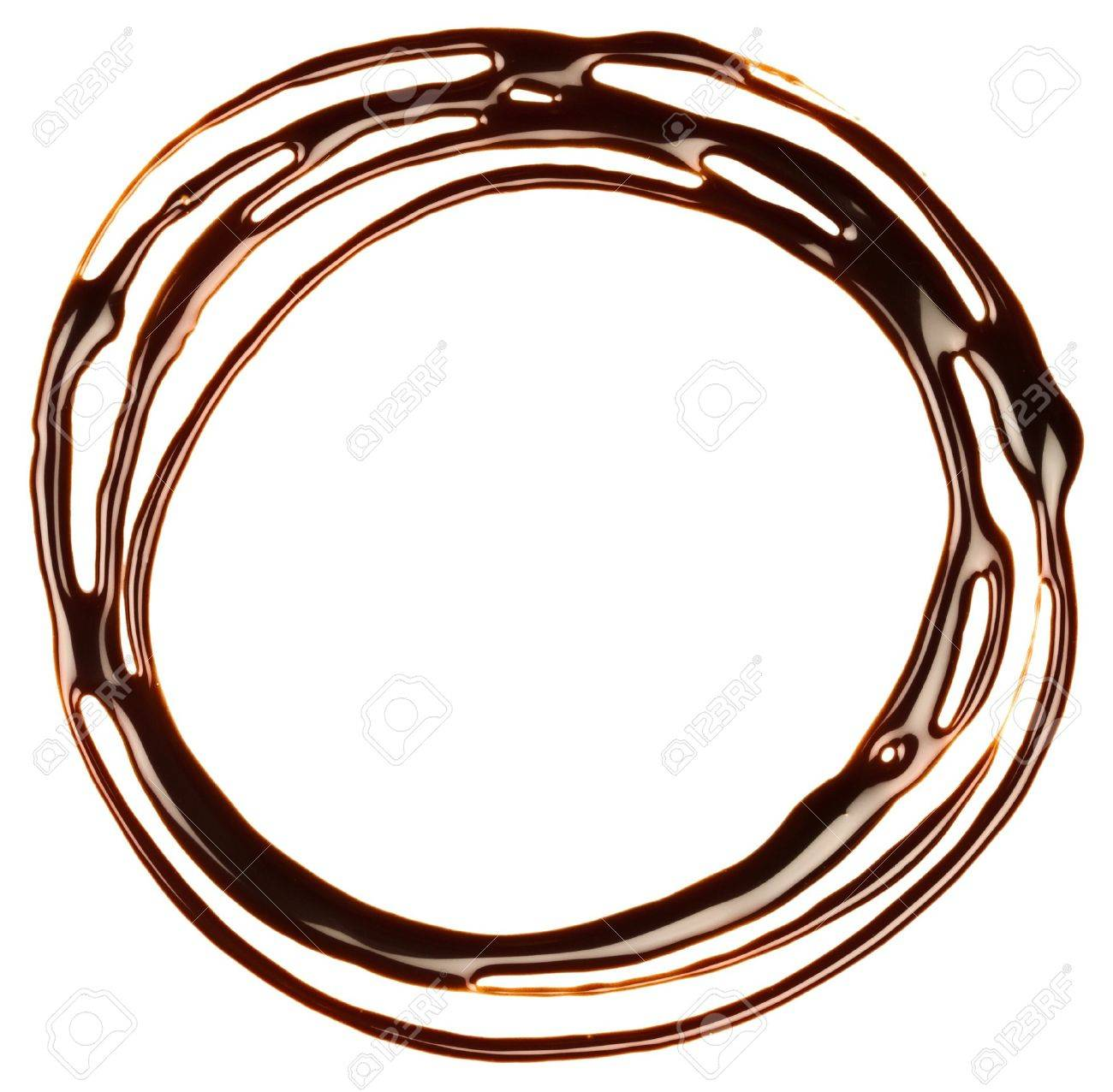 Chocolate syrup drip, frame is isolated on a white background Stock Photo - 15094278