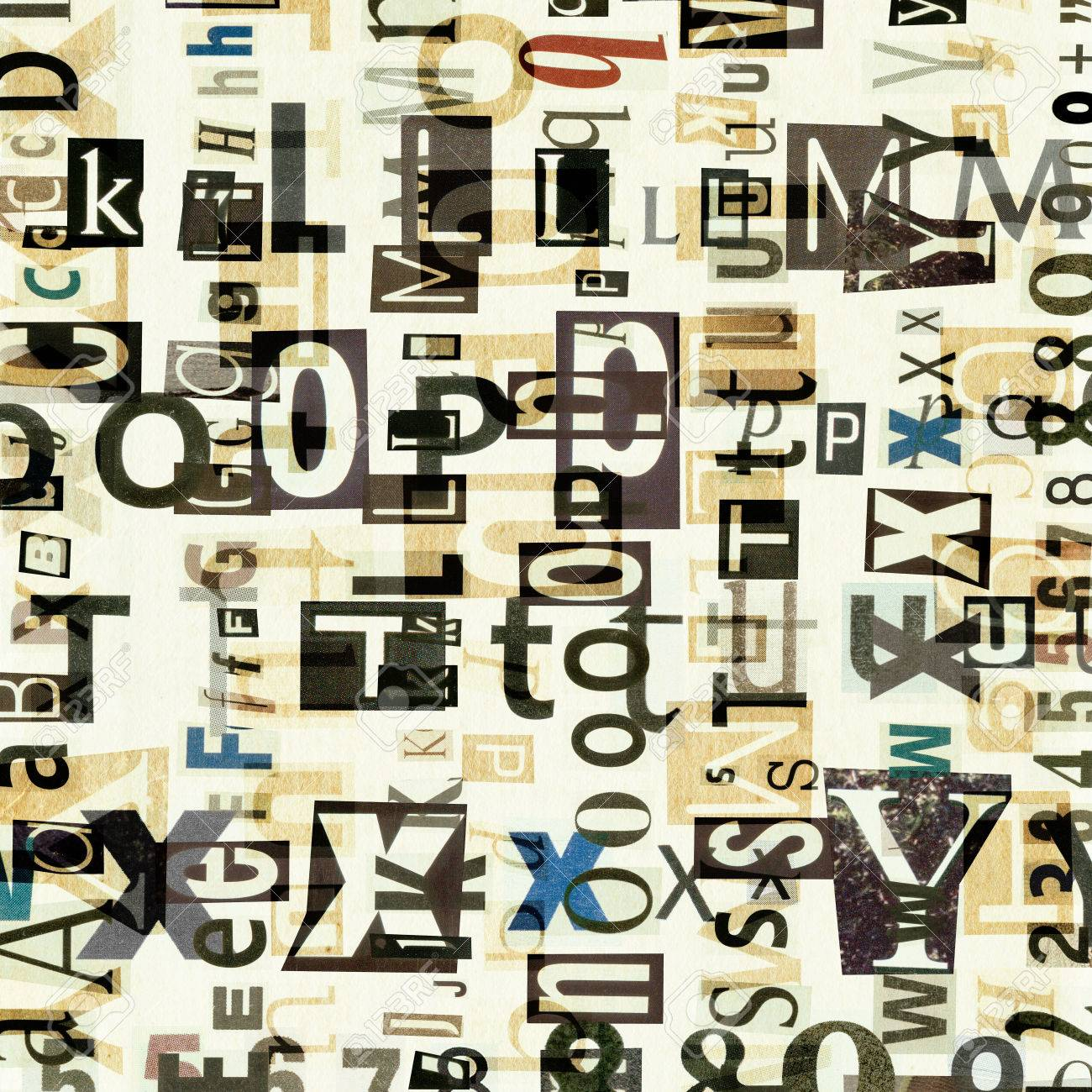 stock photo newspaper magazine collage letters background