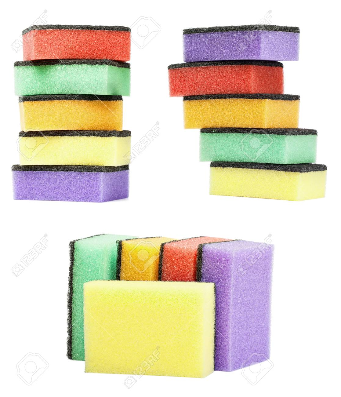 set colorful kitchen sponges are isolated on a white Stock Photo - 23385778