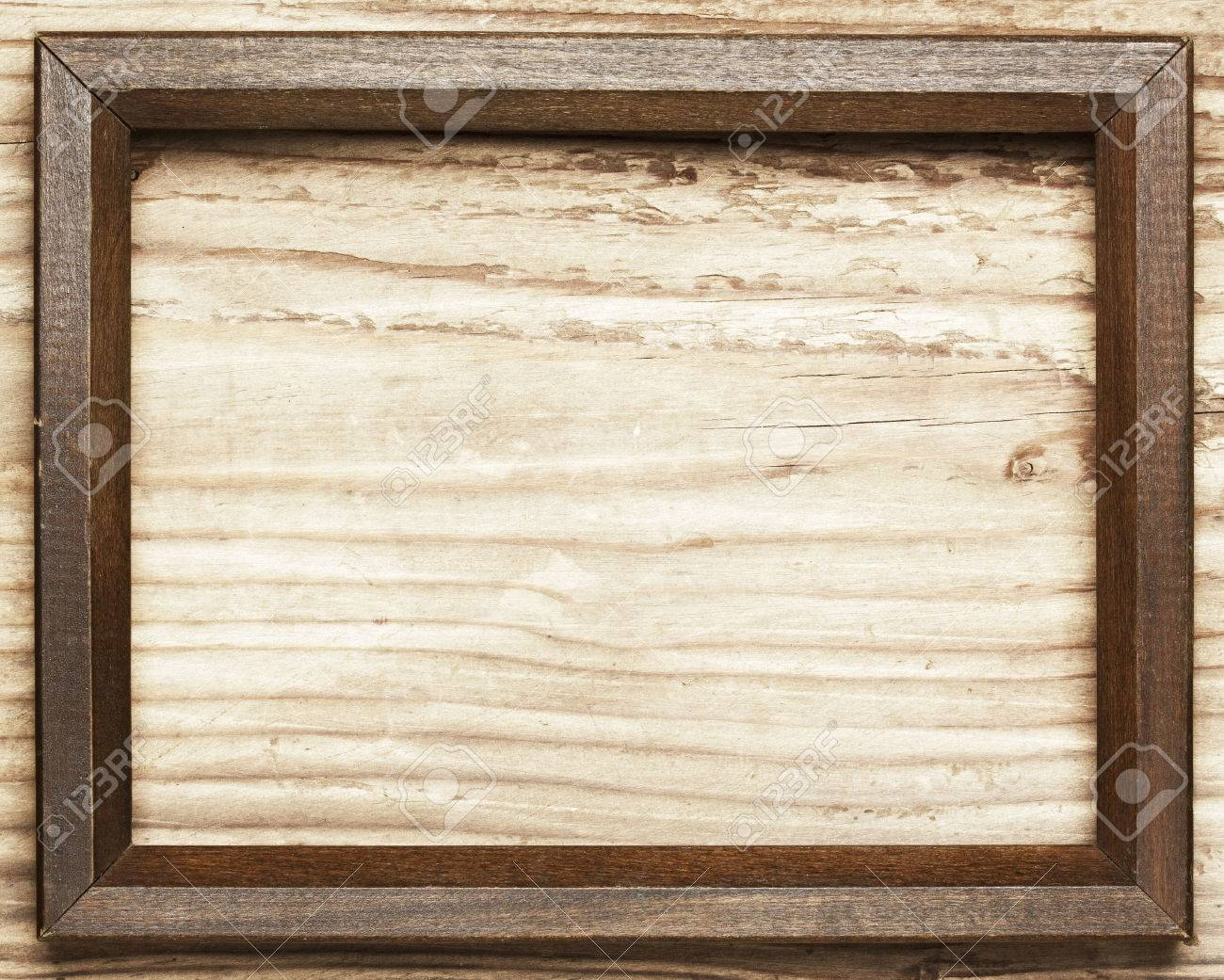 Stock Photo   Vintage Wooden Frame On Wood Background
