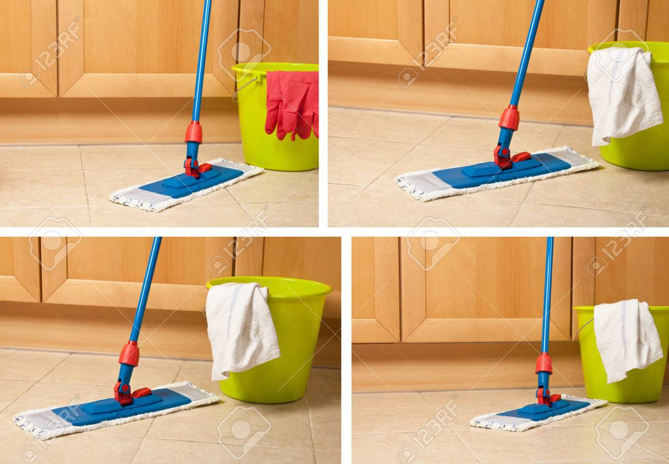 Kitchen Floor Mop Set Of House Items For Cleaning Bucket Mop Gloves Near Kitchen