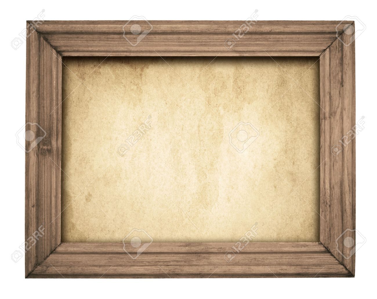 stock photo vintage brown wooden frame on old paper