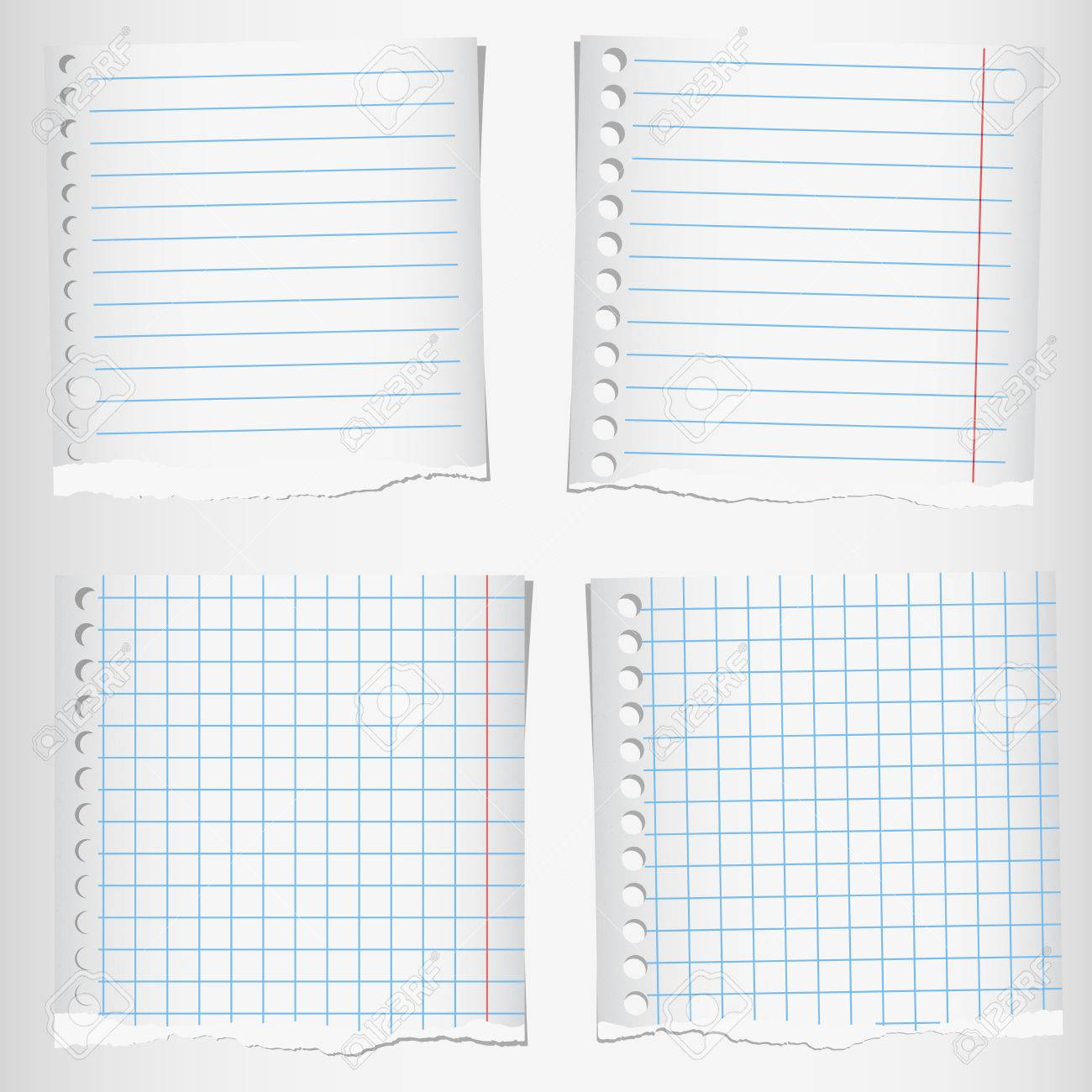 set of torn notebook papers with lines and grid. royalty free