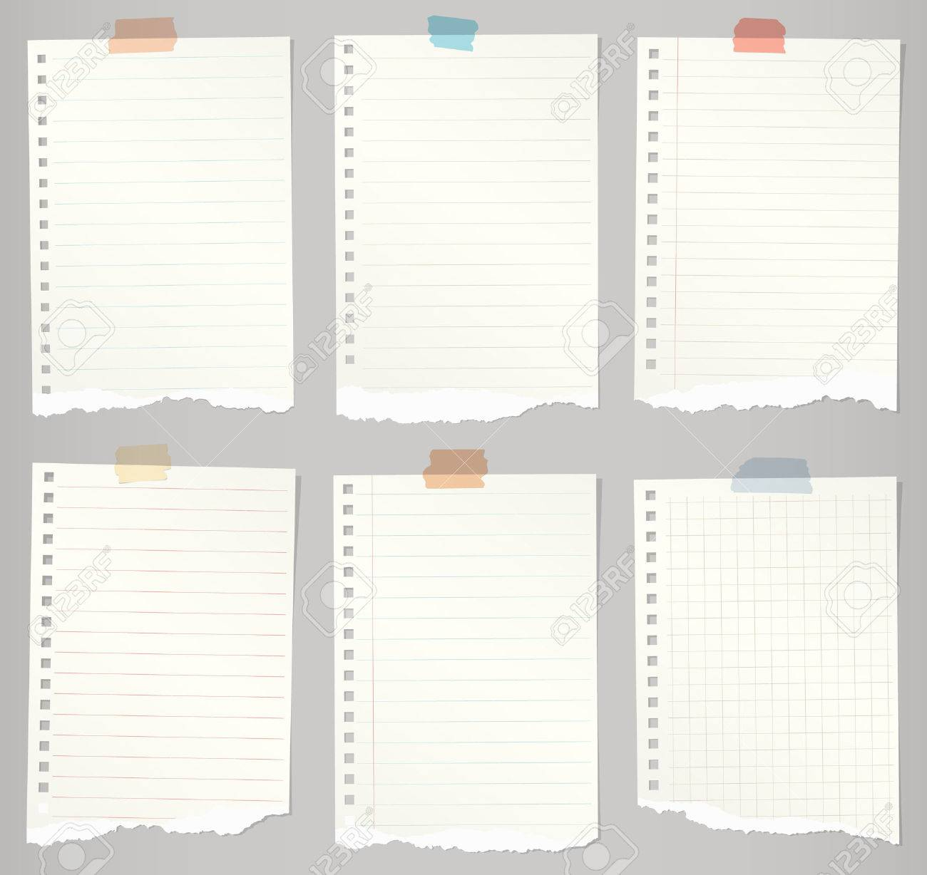 set of torn notebook papers with lines, grid and colorful adhesive