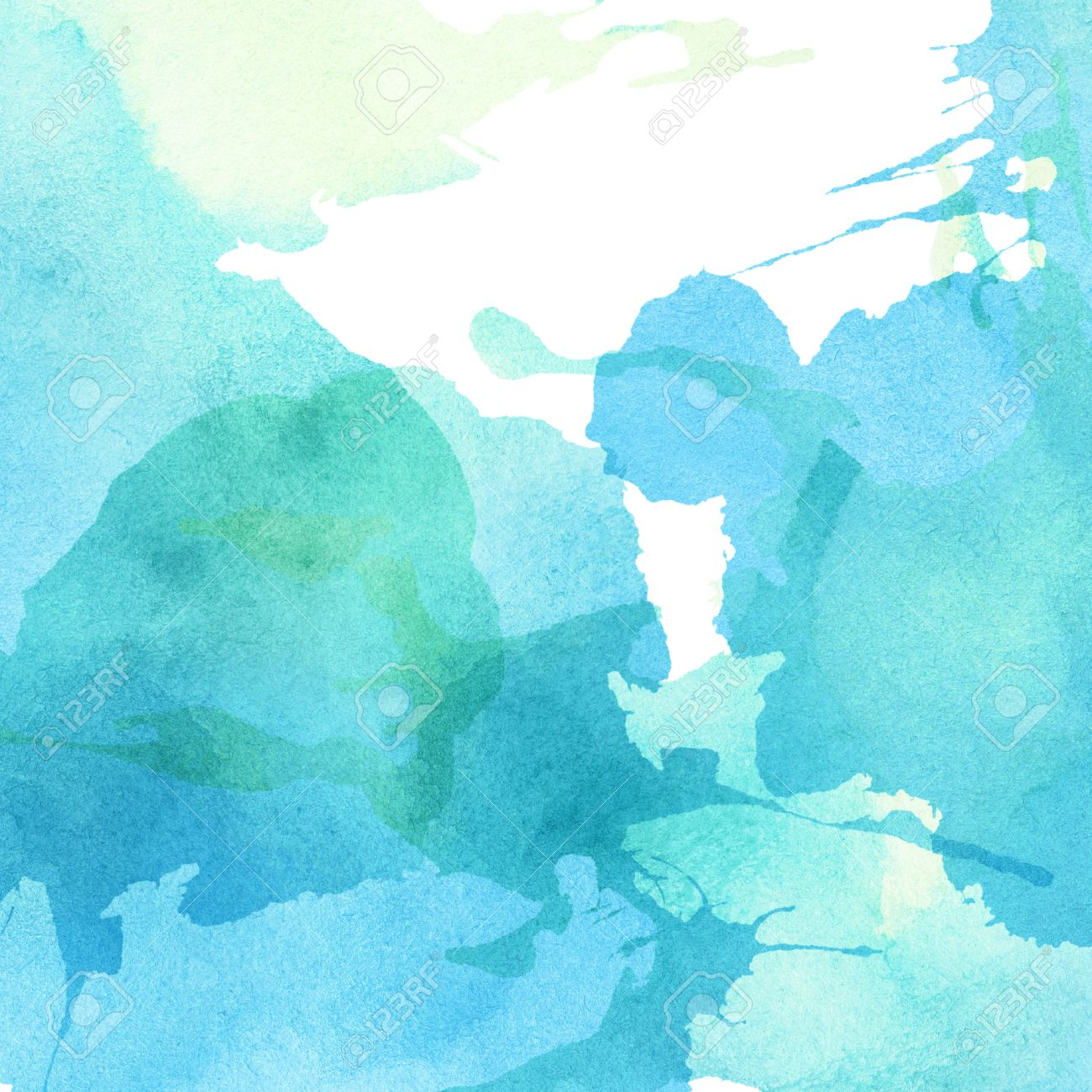 Light abstract blue, green painted watercolor splashes background. Stock Photo - 51250159