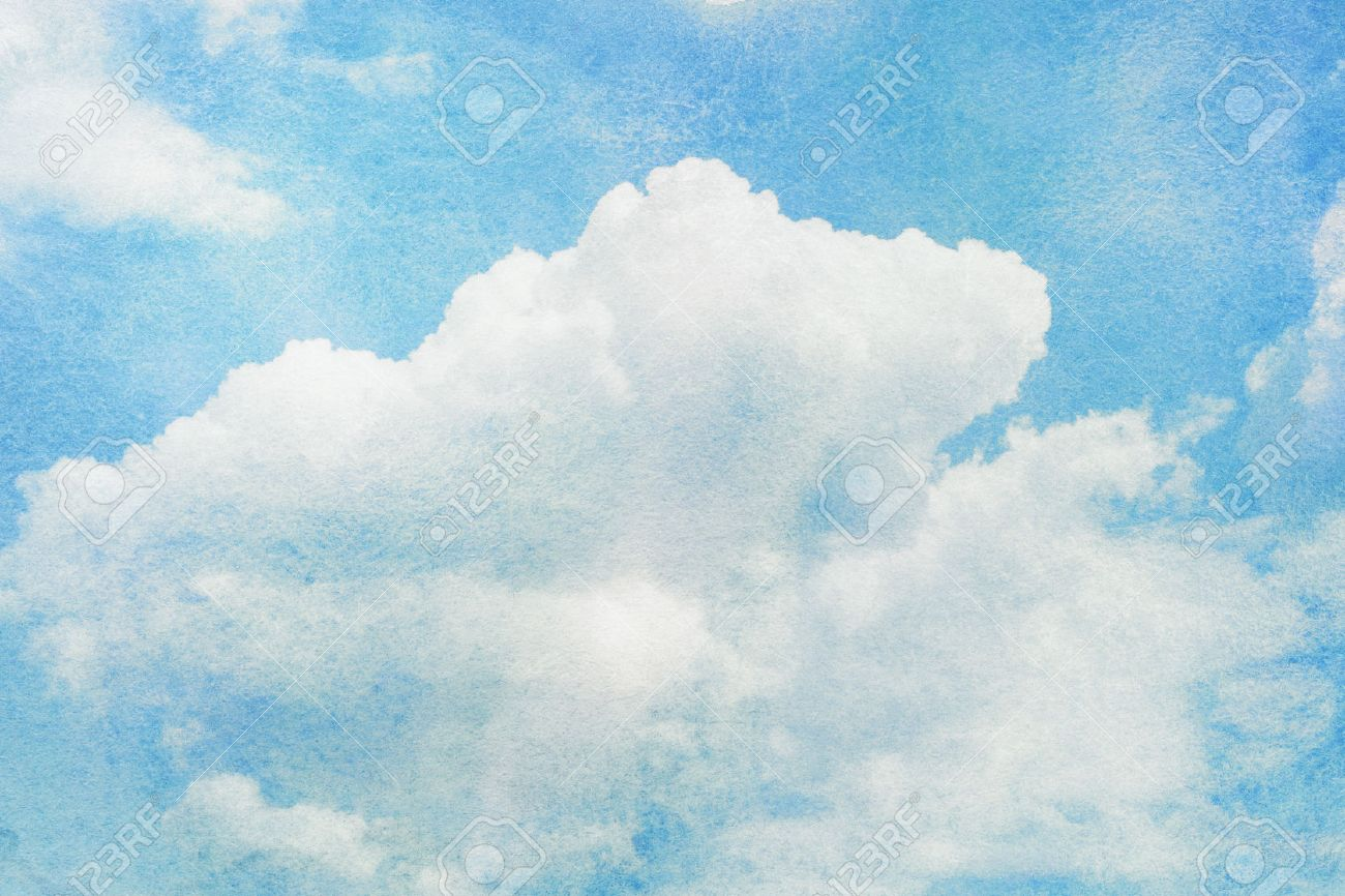 Blue painted watercolor clouds and sky. Nature backgroud. - 52075188