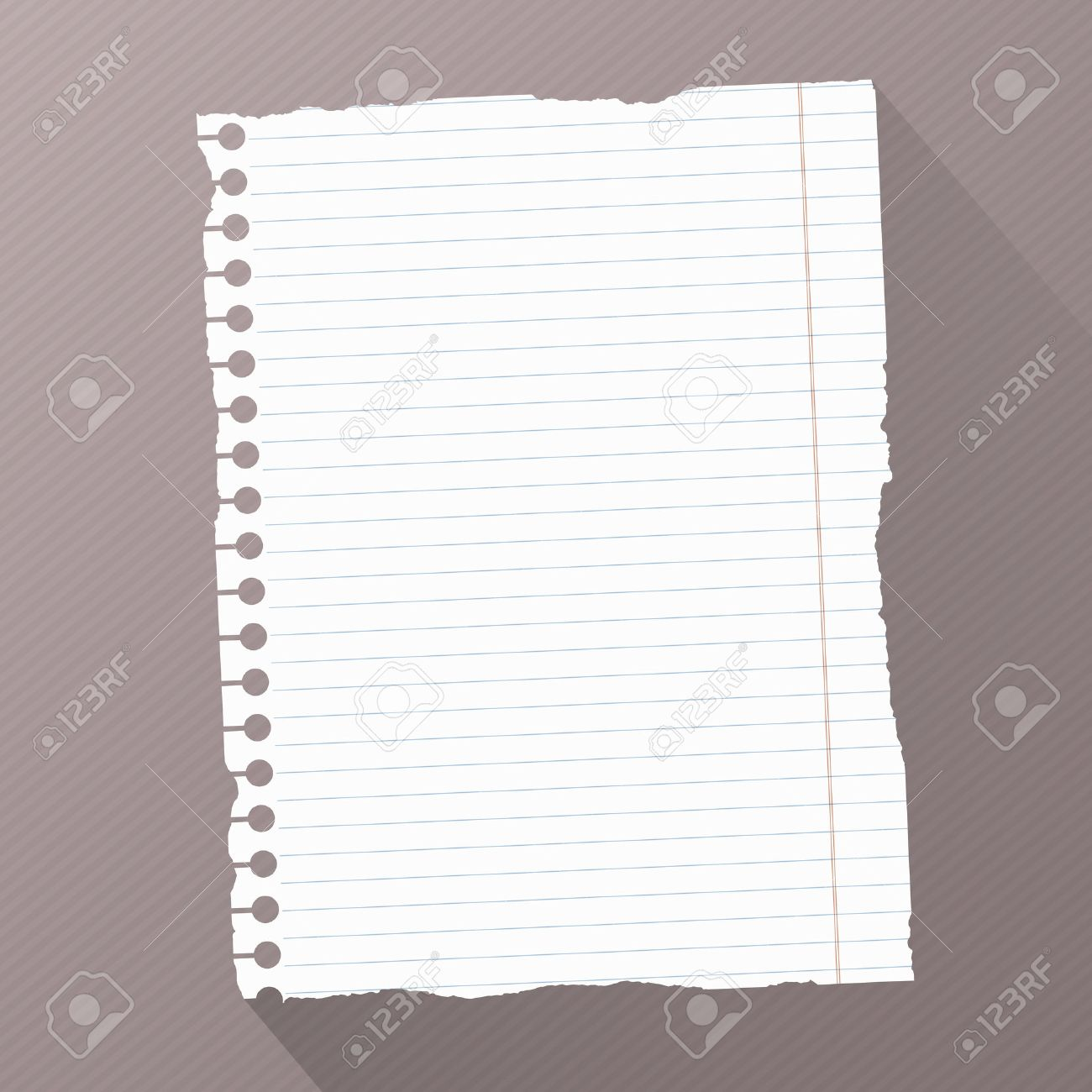 Piece Of Torn White Blank Lined Notebook Paper On Dark Striped – Blank Line Paper