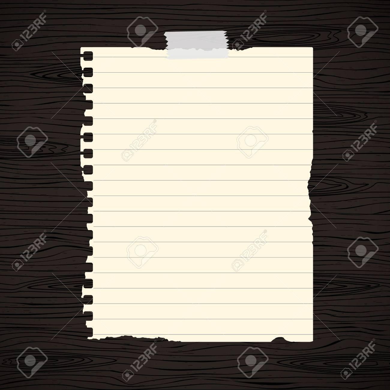 Brown Doublee Dechire Feuille De Papier D Ordinateur Portable Colle Sur Le Mur En Bois Noir Bureau